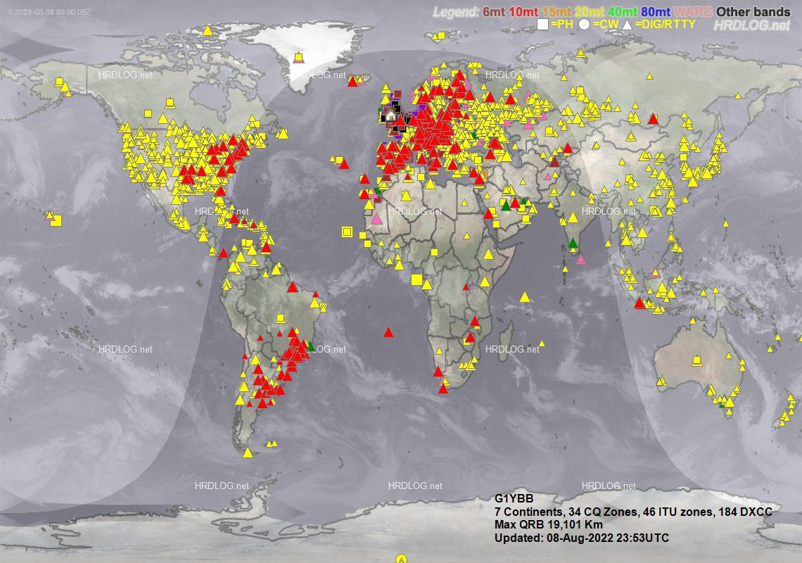 Map of my QSOs from HRDlog.net